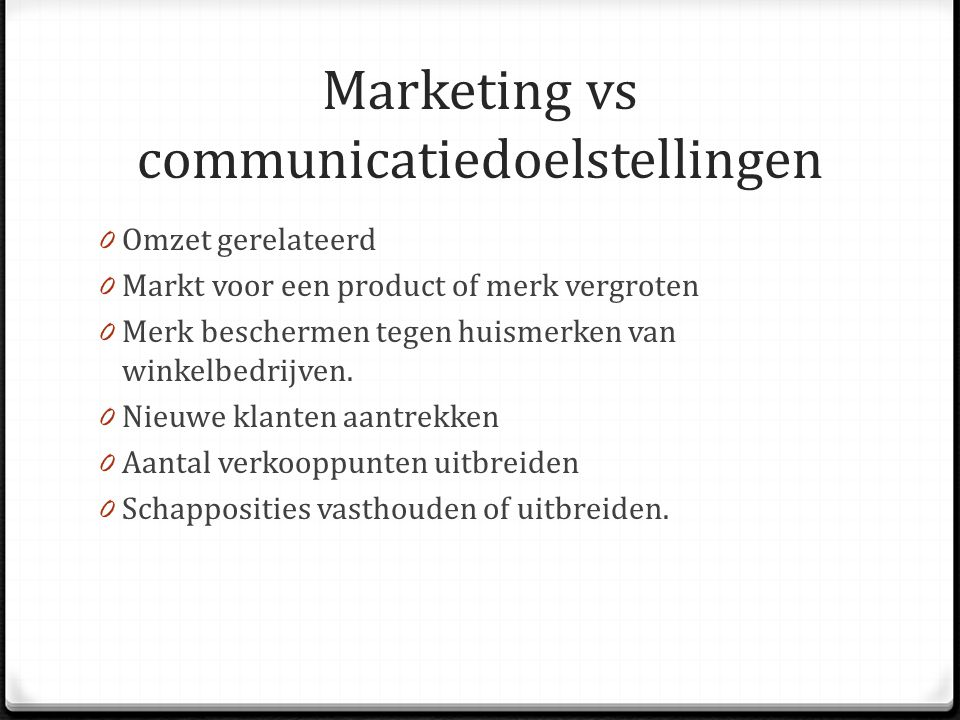 Marketing vs communicatiedoelstellingen