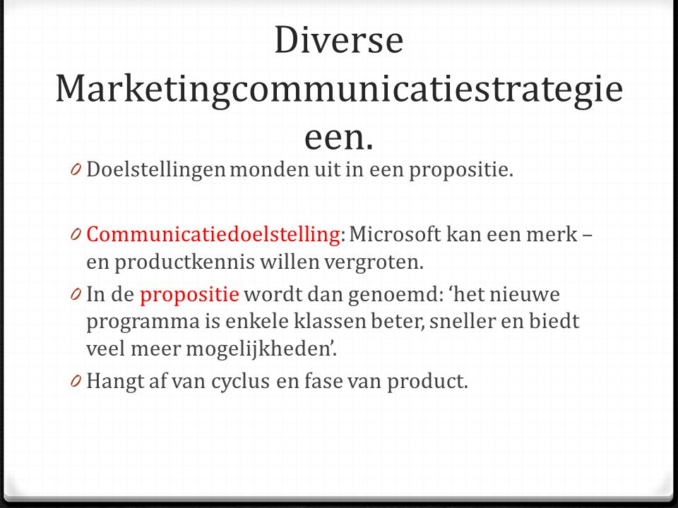 Diverse Marketingcommunicatiestrategieeen.