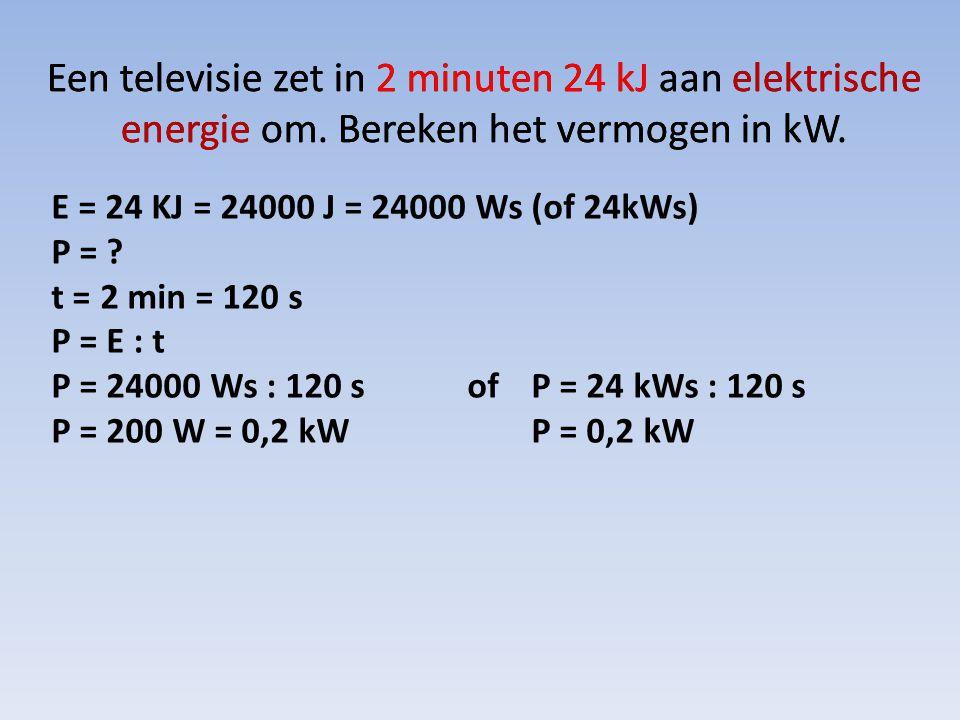 Een televisie zet in 2 minuten 24 kJ aan elektrische energie om