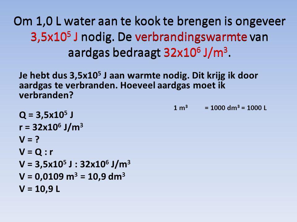 Om 1,0 L water aan te kook te brengen is ongeveer 3,5x105 J nodig