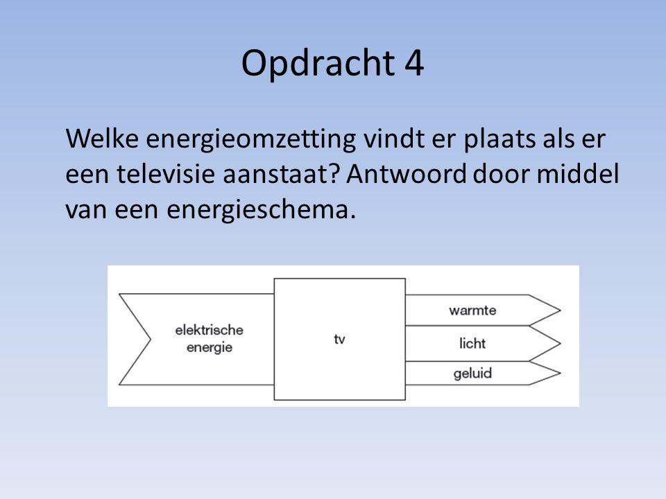 Opdracht 4 Welke energieomzetting vindt er plaats als er een televisie aanstaat.