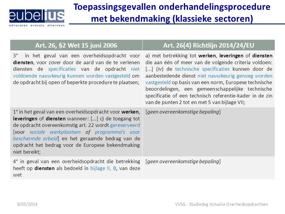 Toepassingsgevallen onderhandelingsprocedure met bekendmaking (klassieke sectoren)