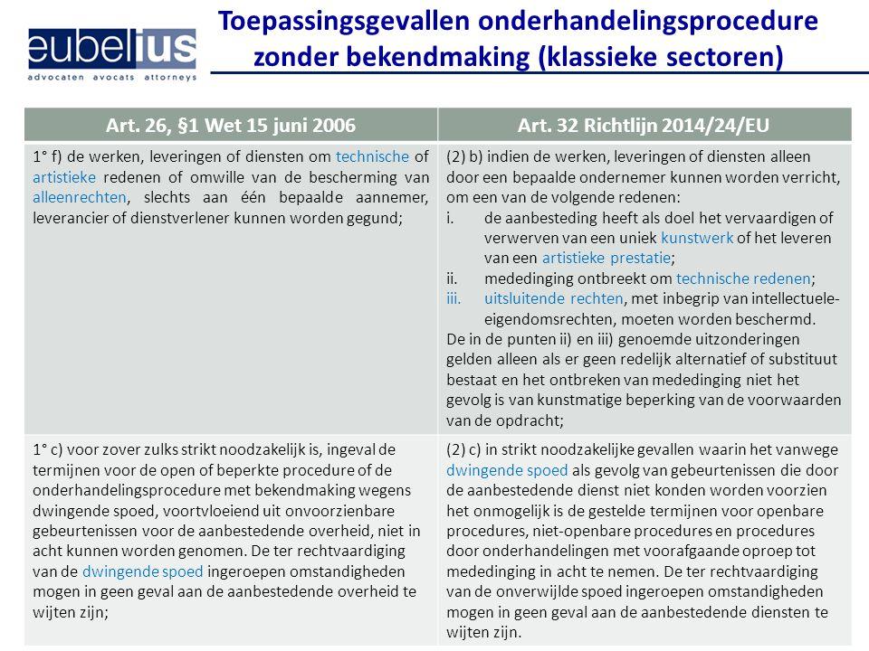 Toepassingsgevallen onderhandelingsprocedure zonder bekendmaking (klassieke sectoren)