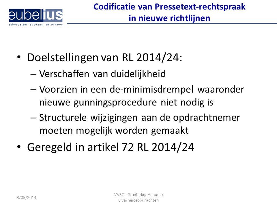 Codificatie van Pressetext-rechtspraak in nieuwe richtlijnen