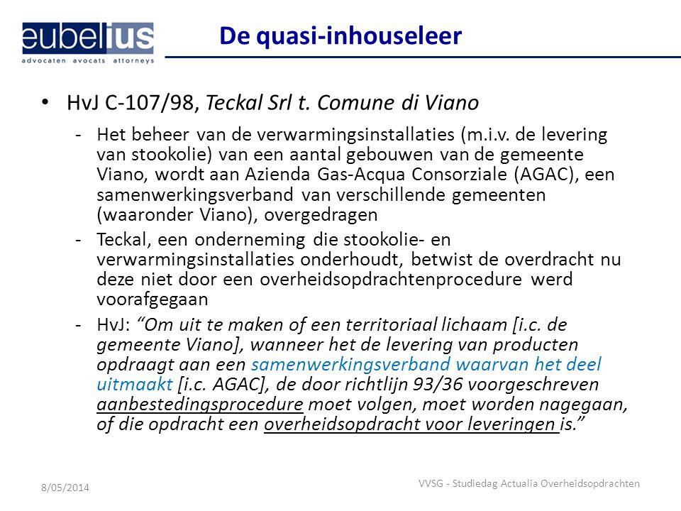 De quasi-inhouseleer HvJ C-107/98, Teckal Srl t. Comune di Viano