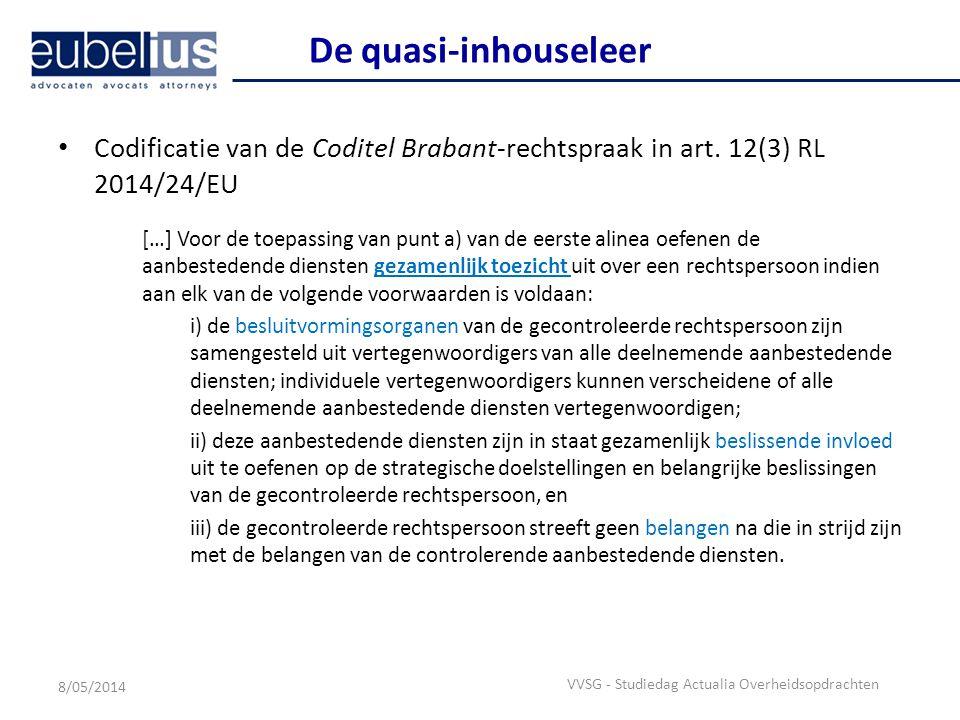 De quasi-inhouseleer Codificatie van de Coditel Brabant-rechtspraak in art. 12(3) RL 2014/24/EU.