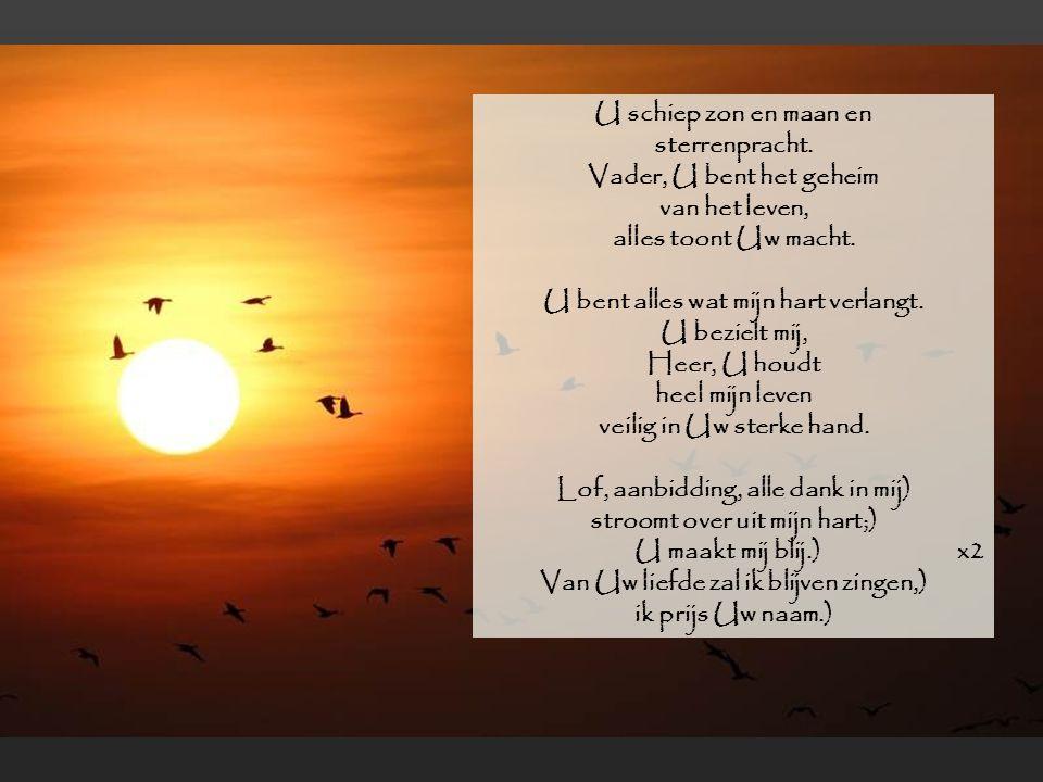 Van Uw liefde zal ik blijven zingen,) ik prijs Uw naam.)
