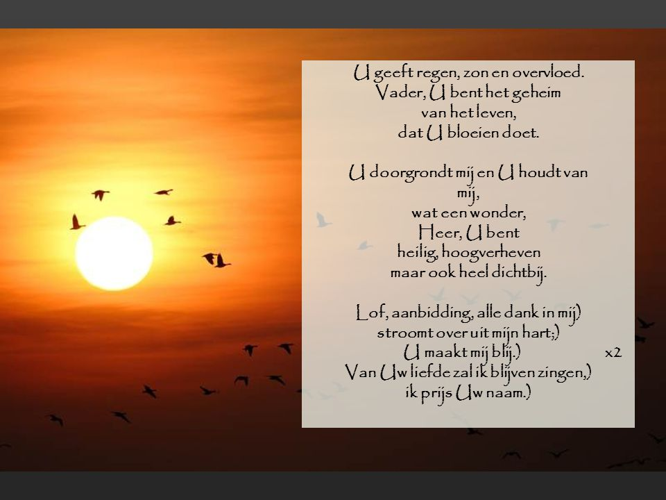 Lof, aanbidding, alle dank in mij)