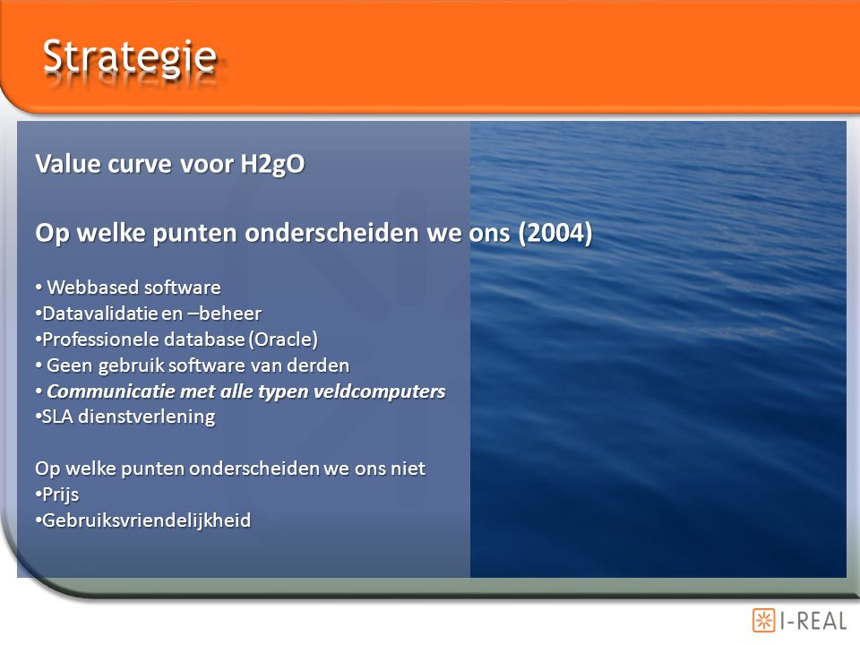 Strategie Value curve voor H2gO