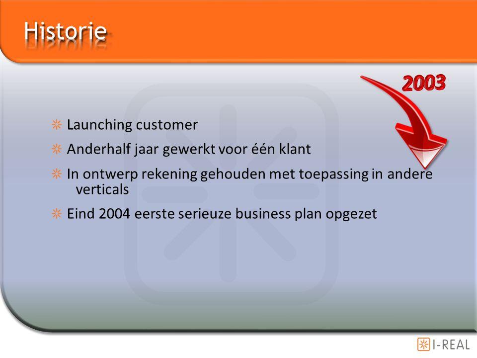 Historie 2003 Launching customer Anderhalf jaar gewerkt voor één klant