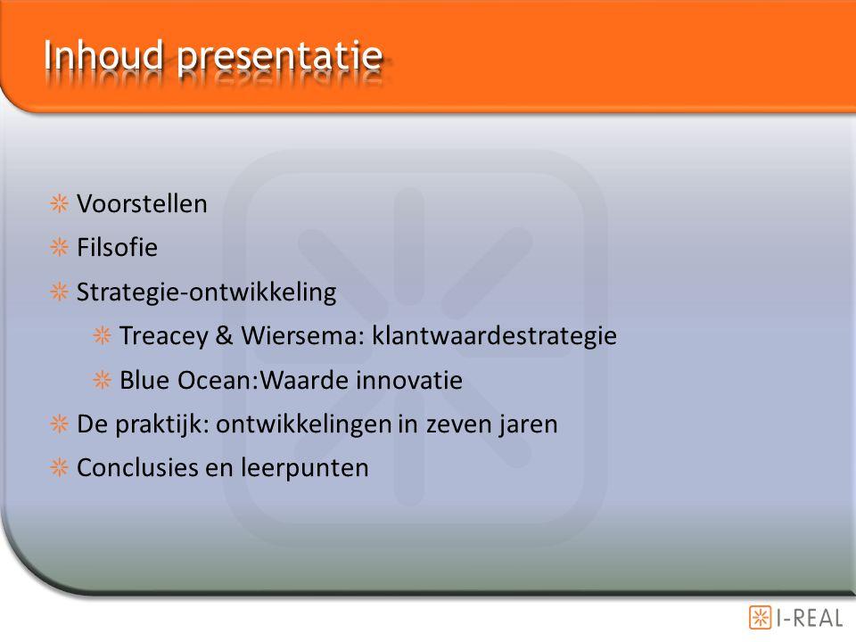 Inhoud presentatie Voorstellen Filsofie Strategie-ontwikkeling