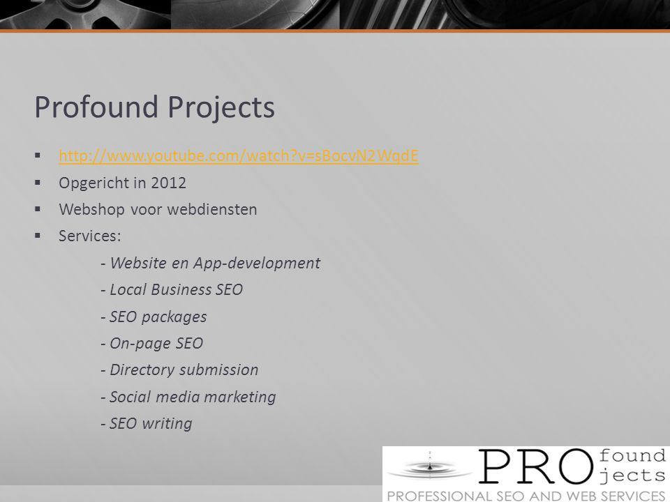 Profound Projects http://www.youtube.com/watch v=sBocvN2WqdE