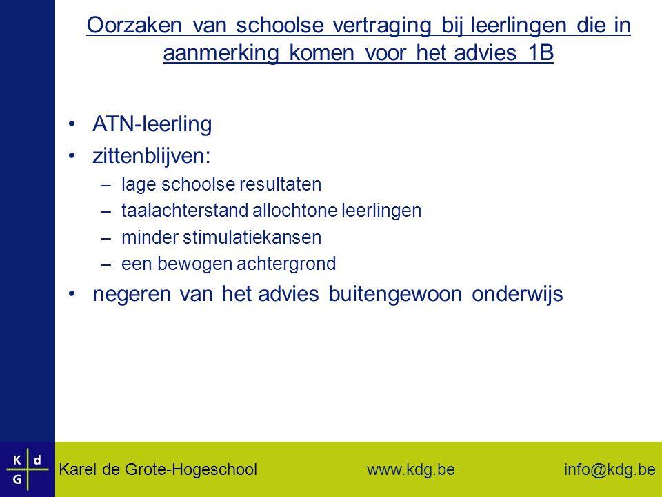 Oorzaken van schoolse vertraging bij leerlingen die in aanmerking komen voor het advies 1B
