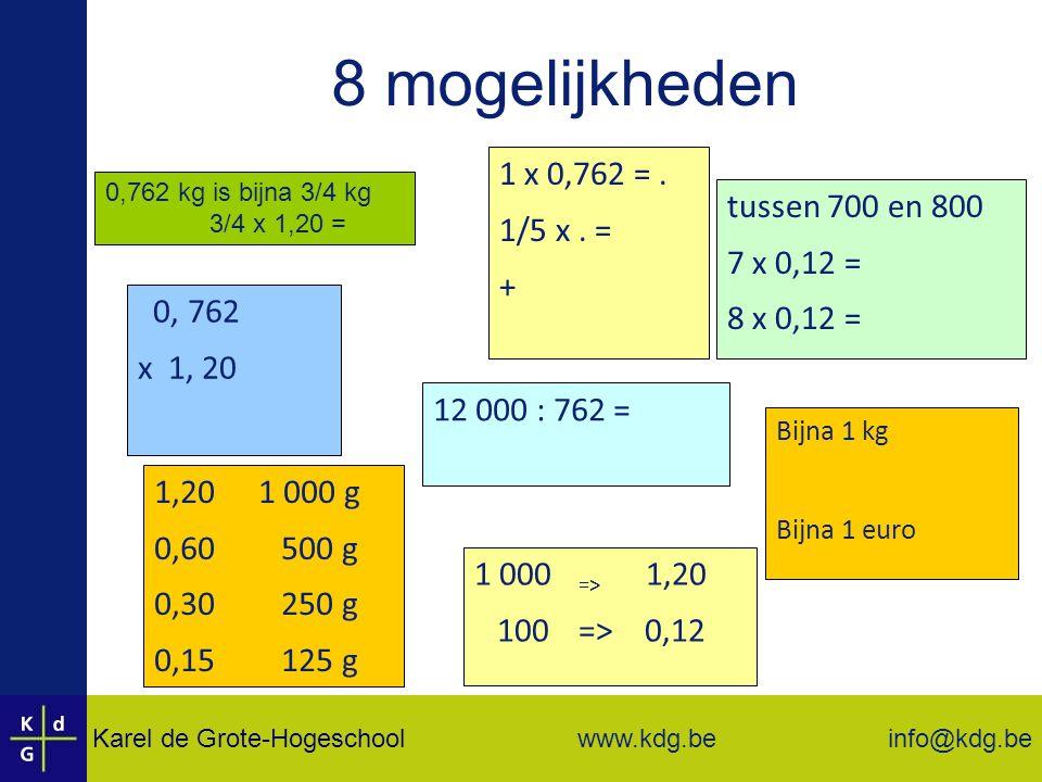 8 mogelijkheden 1 x 0,762 = . 1/5 x . = tussen 700 en 800 + 7 x 0,12 =