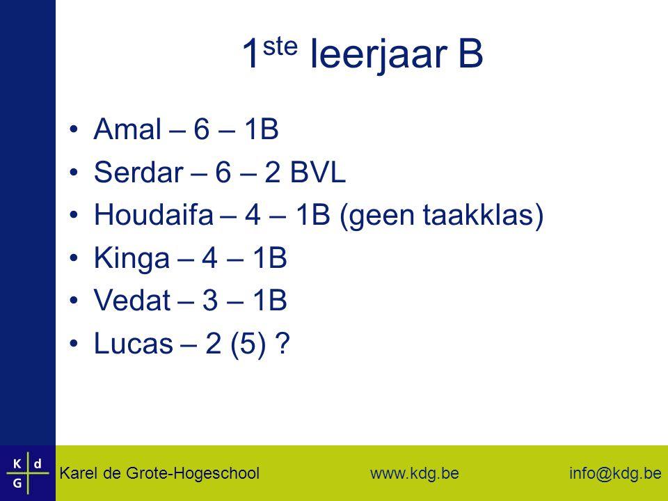 1ste leerjaar B Amal – 6 – 1B Serdar – 6 – 2 BVL
