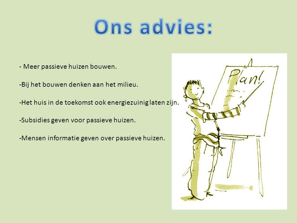 Ons advies: - Meer passieve huizen bouwen.