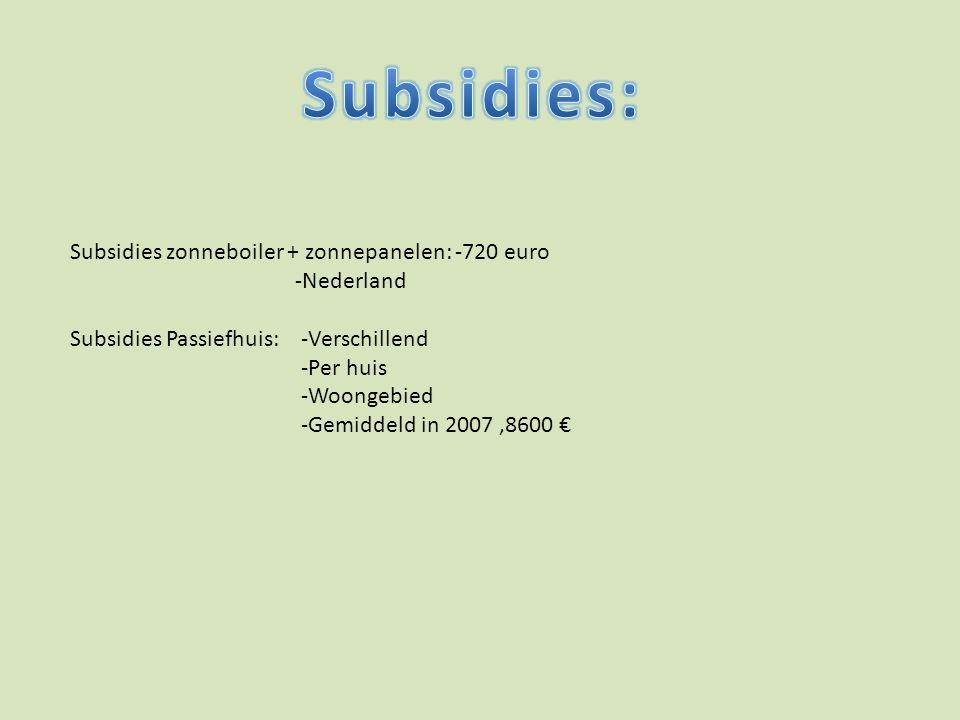 Subsidies: Subsidies zonneboiler + zonnepanelen: -720 euro -Nederland