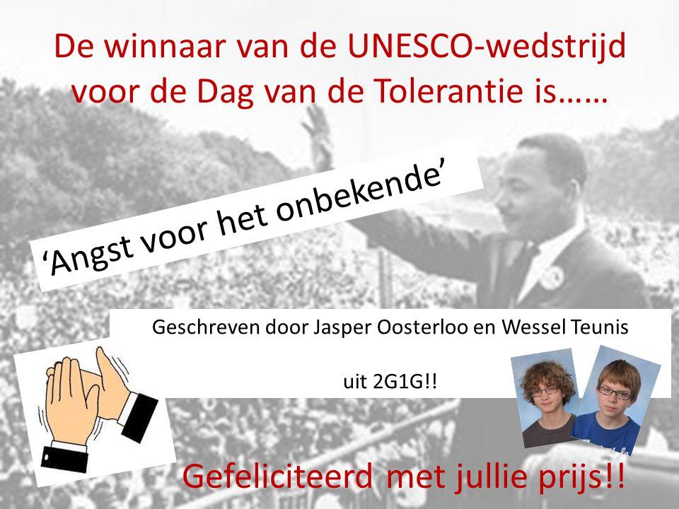 De winnaar van de UNESCO-wedstrijd voor de Dag van de Tolerantie is……