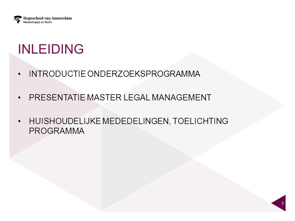 inleiding Introductie Onderzoeksprogramma