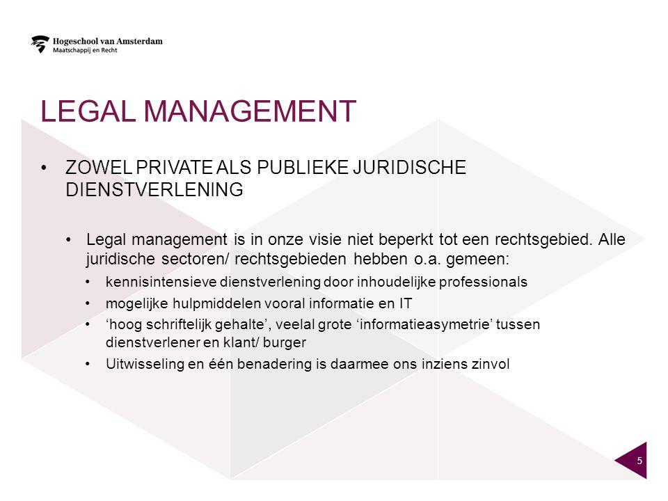 Legal management Zowel private als publieke juridische dienstverlening