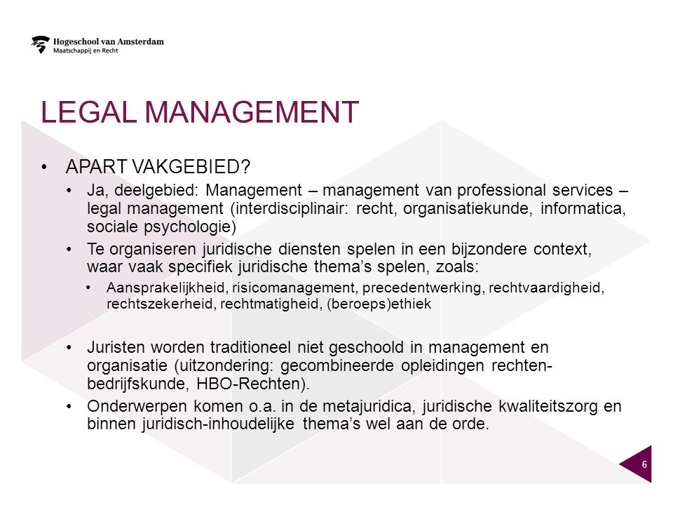 Legal management Apart vakgebied
