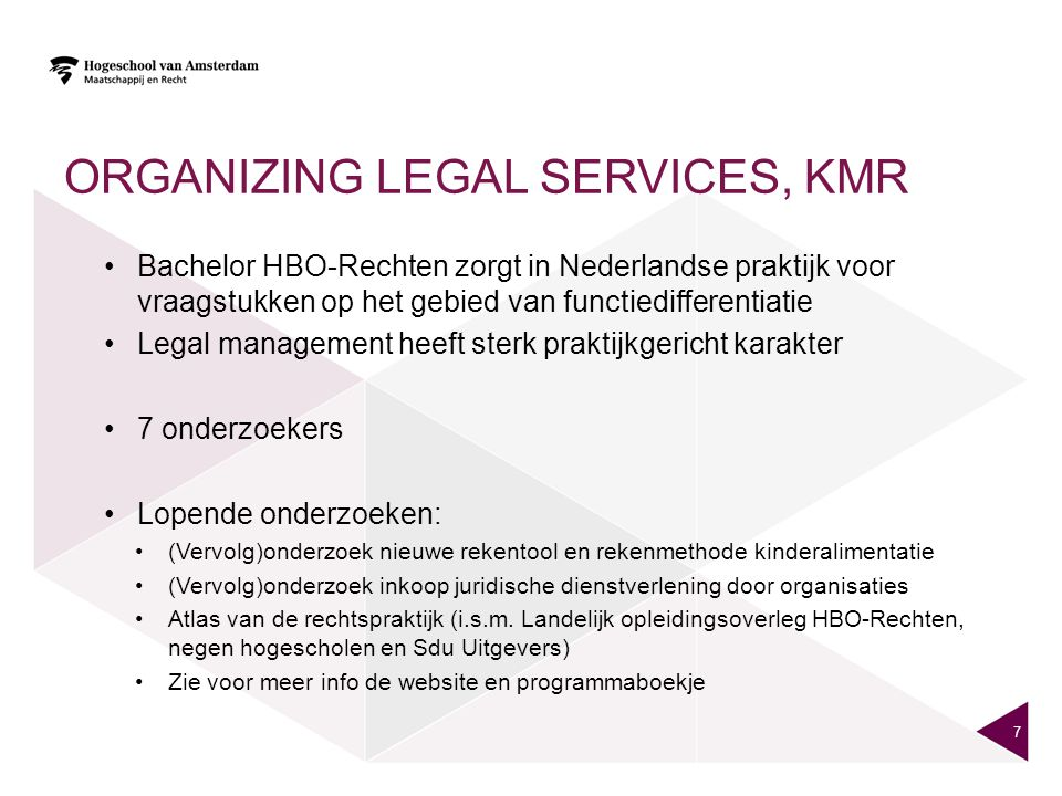 Organizing legal services, KMR