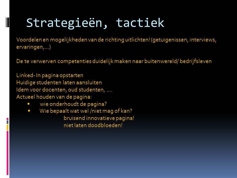 Strategieën, tactiek Voordelen en mogelijkheden van de richting uitlichten! (getuigenissen, interviews,