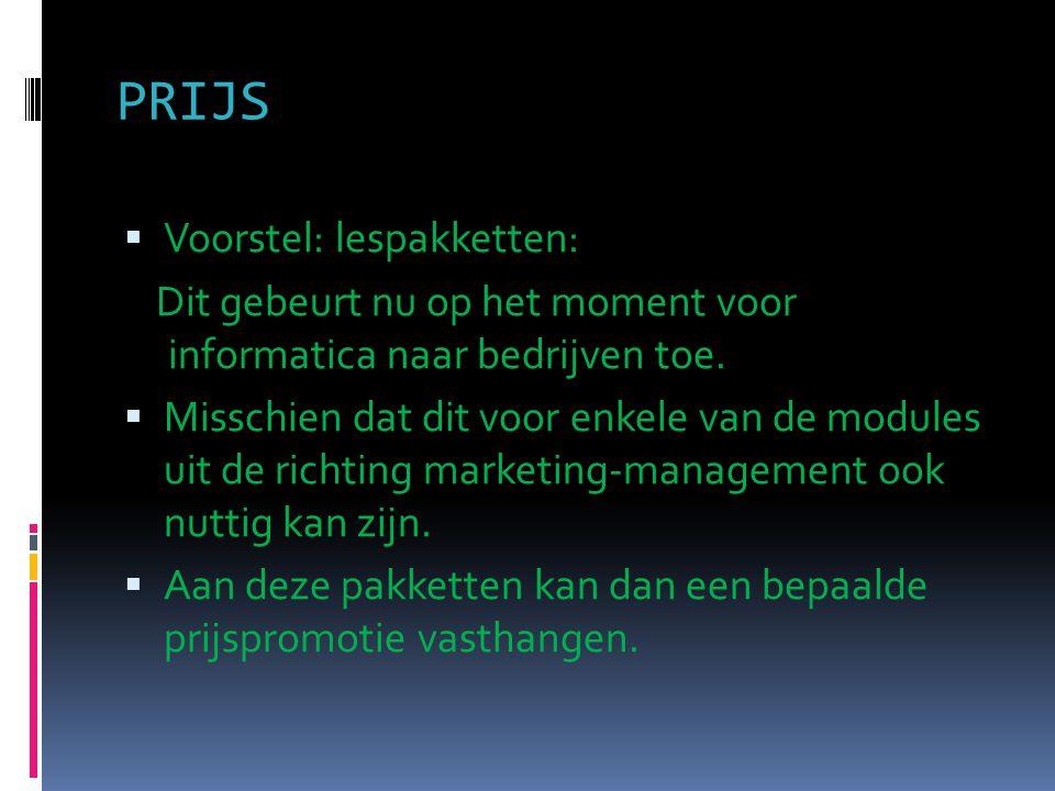 PRIJS Voorstel: lespakketten: