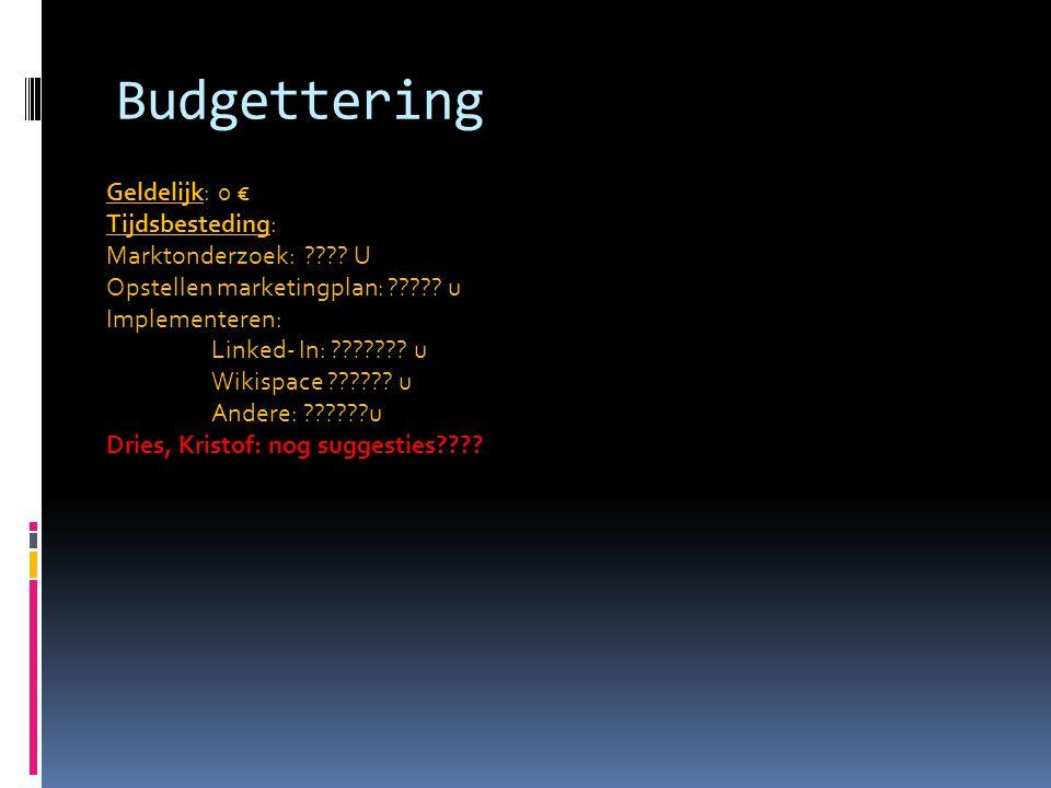 Budgettering Geldelijk: 0 € Tijdsbesteding: Marktonderzoek: U