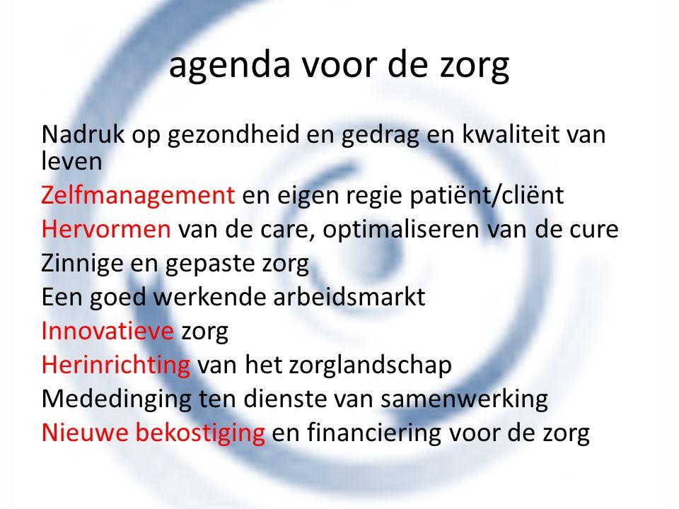 agenda voor de zorg Nadruk op gezondheid en gedrag en kwaliteit van leven. Zelfmanagement en eigen regie patiënt/cliënt.