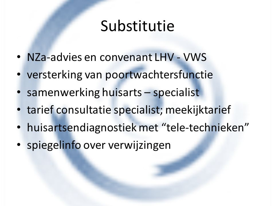 Substitutie NZa-advies en convenant LHV - VWS