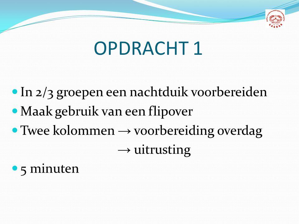 OPDRACHT 1 In 2/3 groepen een nachtduik voorbereiden
