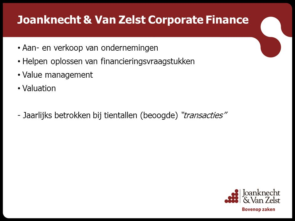 Joanknecht & Van Zelst Corporate Finance