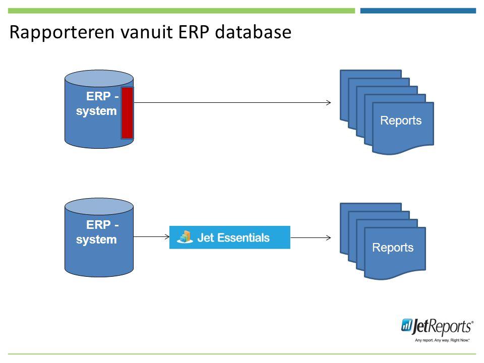 Rapporteren vanuit ERP database