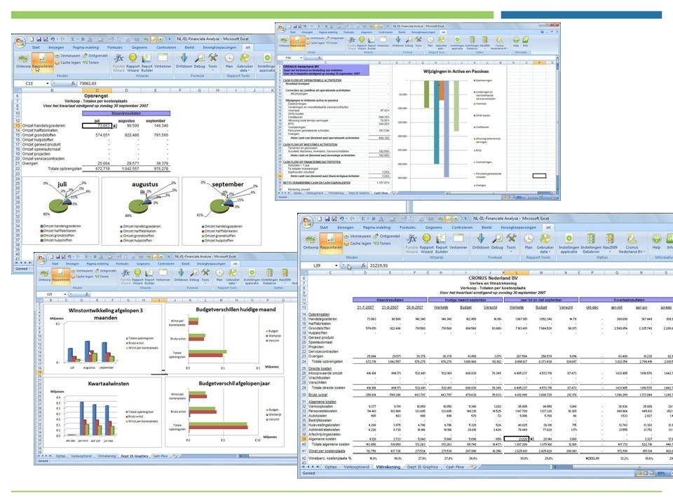 Alle Excel opmaak functionaliteit kan benut worden