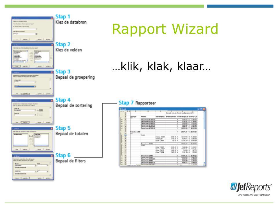 Rapport Wizard …klik, klak, klaar…