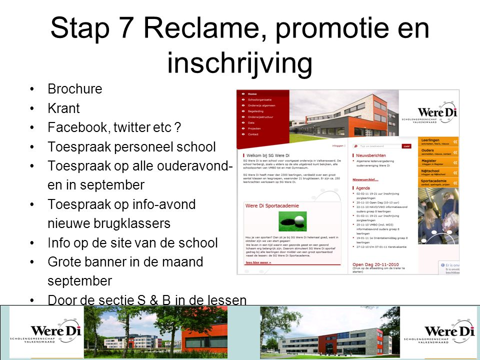Stap 7 Reclame, promotie en inschrijving