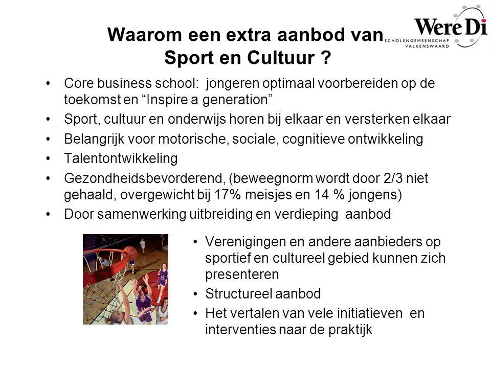Waarom een extra aanbod van Sport en Cultuur