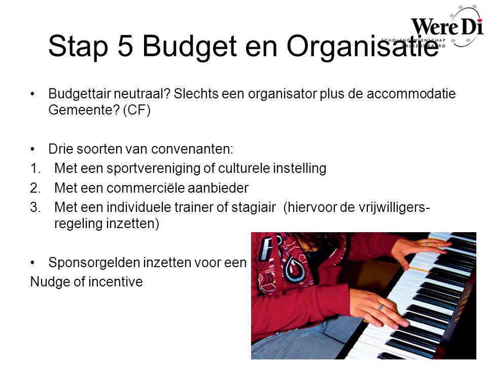 Stap 5 Budget en Organisatie