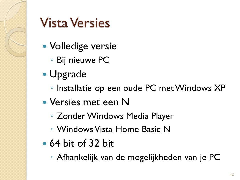 Vista Versies Volledige versie Upgrade Versies met een N