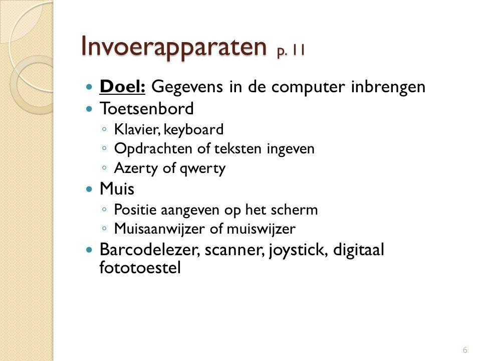 Invoerapparaten p. 11 Doel: Gegevens in de computer inbrengen