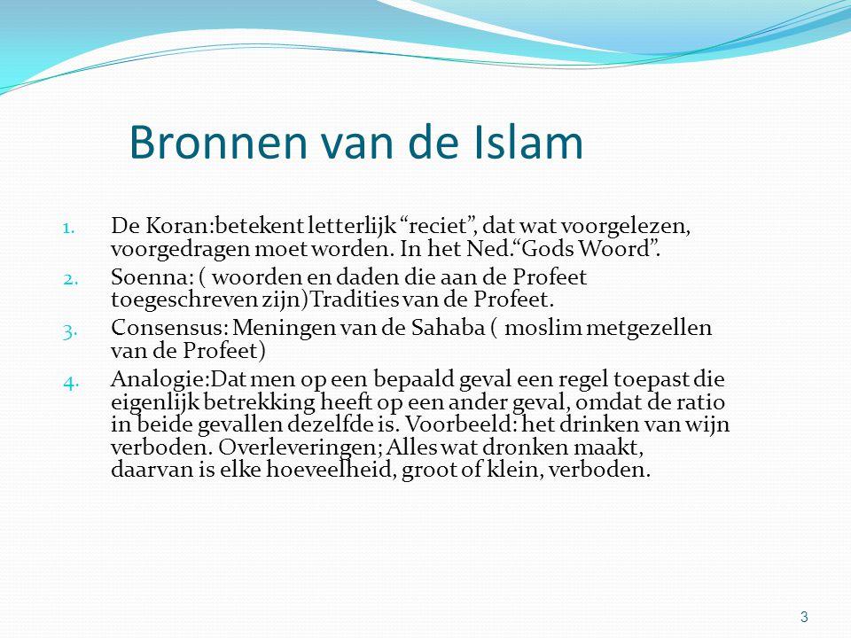 Bronnen van de Islam De Koran:betekent letterlijk reciet , dat wat voorgelezen, voorgedragen moet worden. In het Ned. Gods Woord .