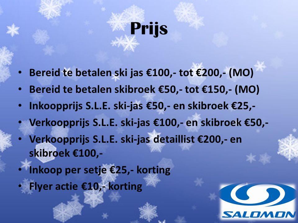 Prijs Bereid te betalen ski jas €100,- tot €200,- (MO)