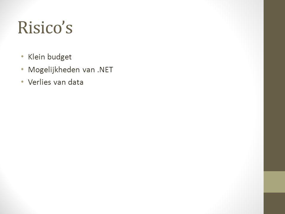 Risico's Klein budget Mogelijkheden van .NET Verlies van data