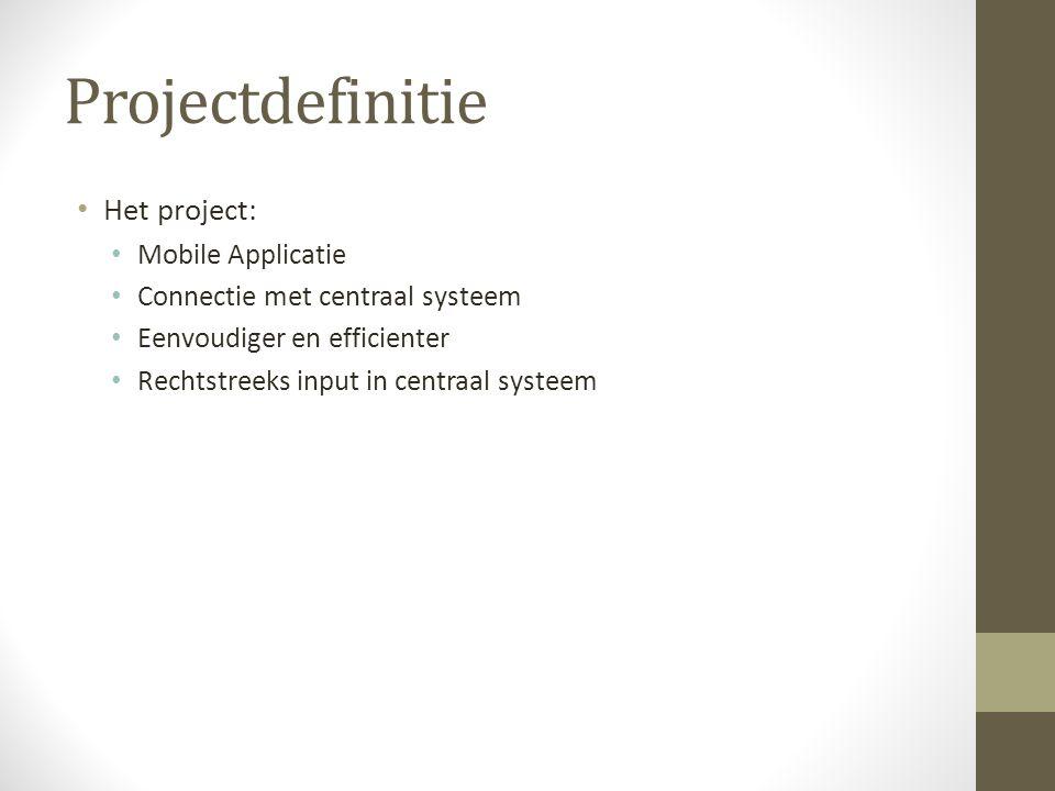 Projectdefinitie Het project: Mobile Applicatie