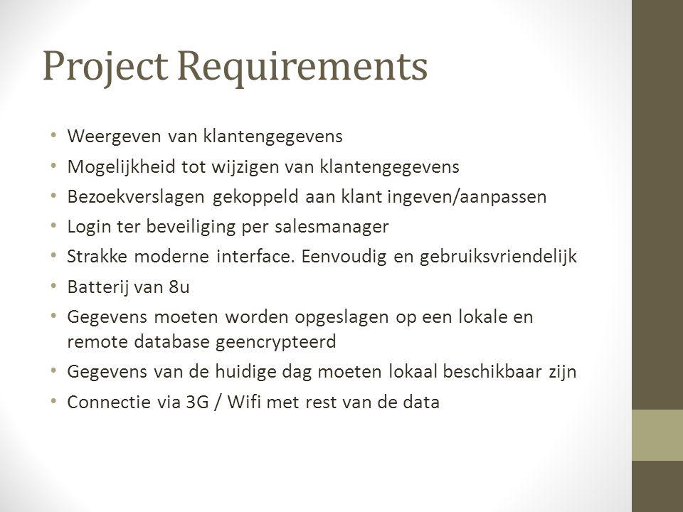 Project Requirements Weergeven van klantengegevens