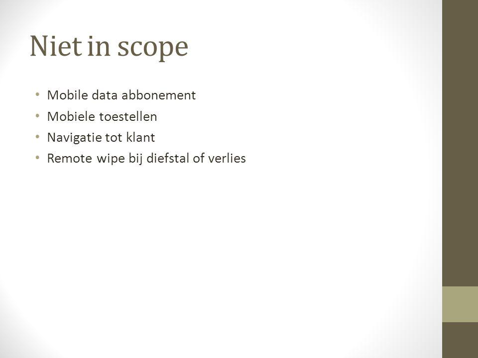Niet in scope Mobile data abbonement Mobiele toestellen