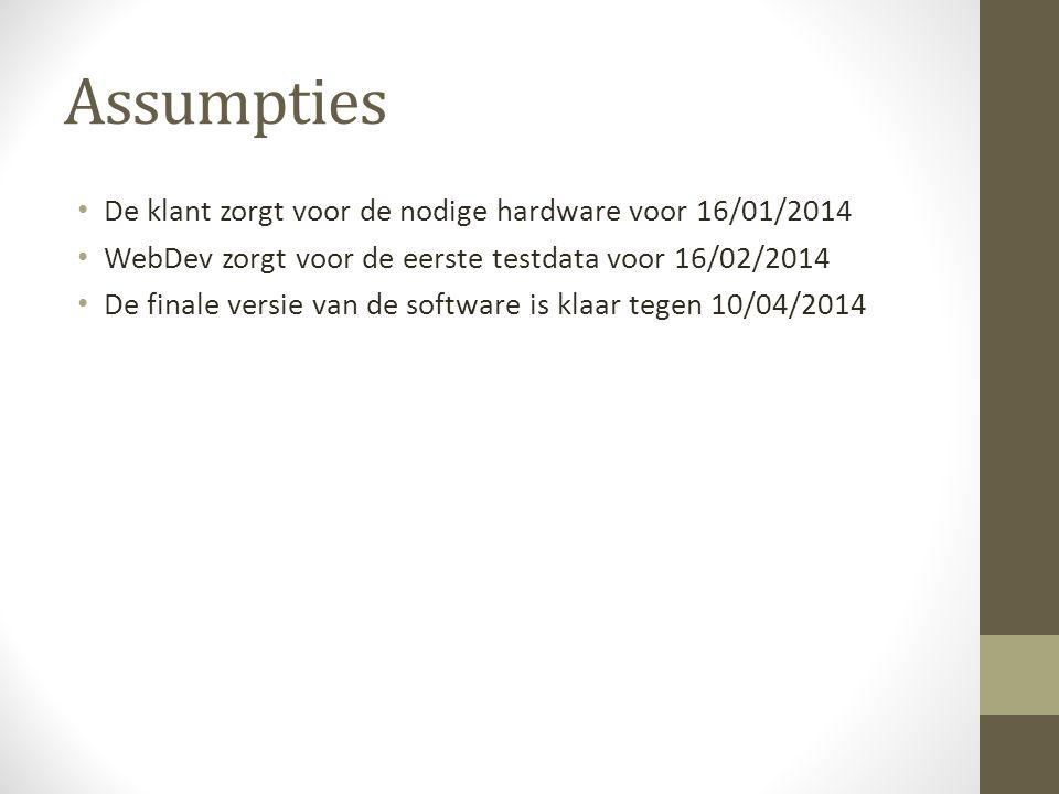 Assumpties De klant zorgt voor de nodige hardware voor 16/01/2014