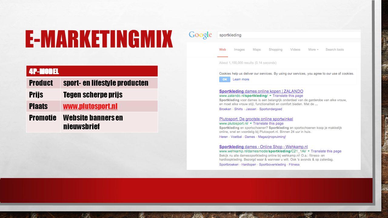 E-marketingmix 4P-MODEL Product sport- en lifestyle producten Prijs