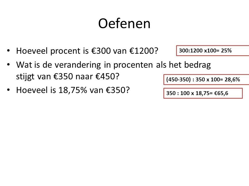 Oefenen Hoeveel procent is €300 van €1200